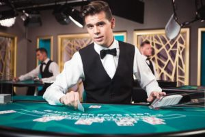 Traditioneel casino-croupier-